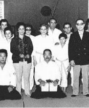Primeiro estágio de Aikido dirigido pelo Mestre Hirokazu Kobayashi, Academia de Budo, 1972 Em pé, o Dr. Pires Martins e o Mestre Leopoldo Ferreira Sentados, o Mestre Honda e o Mestre Kobayashi